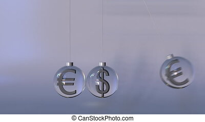 Swinging Newton's cradle made of dollar and euro currency...