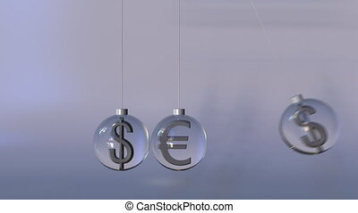 Swinging Newton's cradle made of euro and dollar currency...