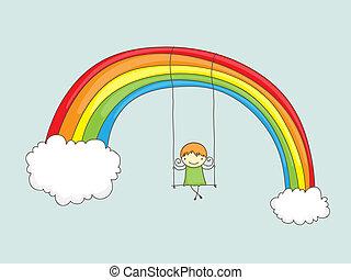 Swinging on a rainbow - Cartoon girl swinging on a rainbow