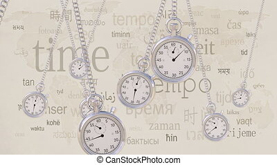 Swinging retro stopwatches against same inscriptions in...