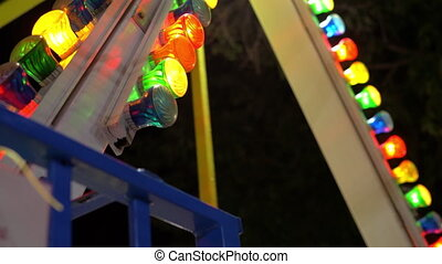 Swinging ship attraction at fun fair - Swinging ship...