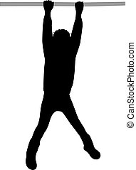 swinging, silhouette