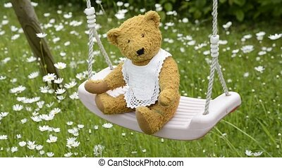 swinging teddy bear within flowers