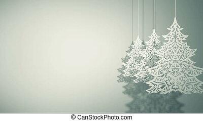Swinging three Christmas trees paper