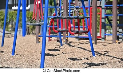 Chisinau, Moldova - April 7, 2020: Empty children playground in residential area during quarantine by reason of coronavirus AKA covid-19 virus. State of emergency declared in Moldova from March 17 until May 15