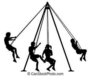 Swings - Editable vector silhouette of children on...