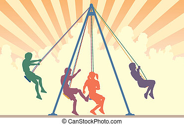 Swings - Colorful editable vector silhouettes of children on...