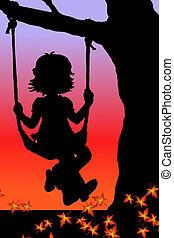 swings - vector illustration of girl on swings