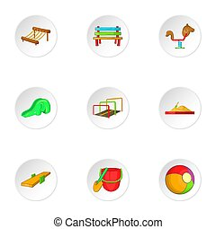 Swings for kid icons set, cartoon style