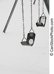 Swingset in cold - Snow covered swingset
