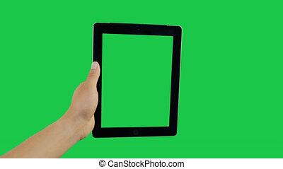 Swipe Digital Tablet Green Screen - Pointing Finger Swipe...