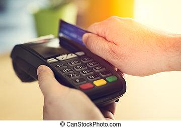 swiping, crédito, loja, cartão, mão