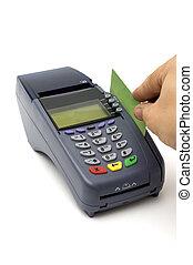 swiping, kredietkaart, met, pos-terminal