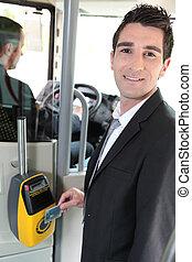swiping, tram, billet, sien, banlieusard