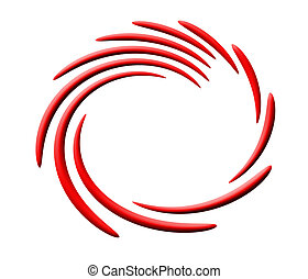 abstract red-white circular swirl.