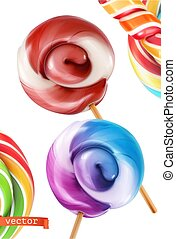 Swirl candy, lollipop. 3d realistic vector icon