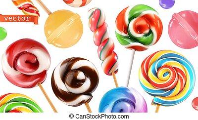 Swirl candy, lollipop. 3d realistic vector icon set