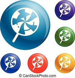 Swirl candy lollipop icons set vector