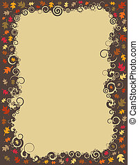 An autumn border made up of swirls and falling leaves.