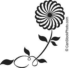 Swirl Floral - Pinwheel flower with a viney stem and leaves...