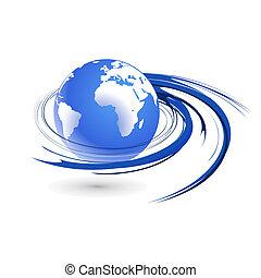 swirl globe - Abstract illustration with swirl globe