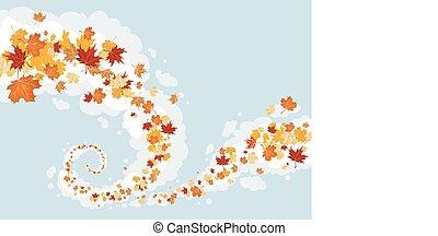 Swirl of leaves in the sky