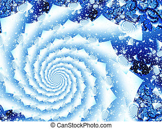 swirl of snow - illustration of cold winter with spiral ...