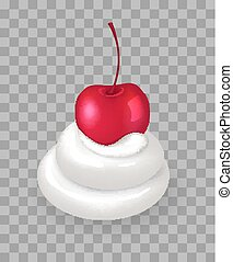 Swirl of Whipped Cream with Ripe Cherry on Top