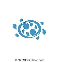 swirl splash blue water logo vector