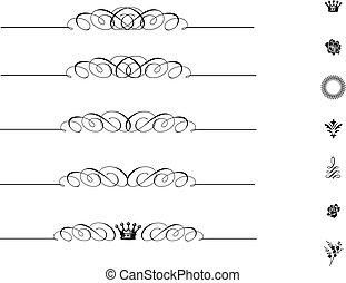 swirl stel, ornament, bijbehorend, vector