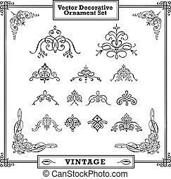 swirl stel, ornament, vector, sierlijk