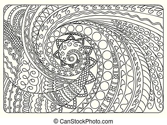 swirl tangled shapes star - Hand drawn tangled pattern in...