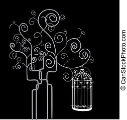 Swirl tree bird cage