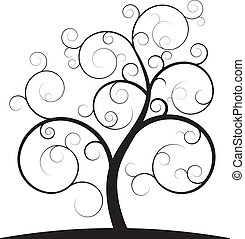 swirl tree - illustration of black spiral tree