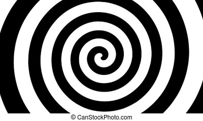 "Seamless loop of a rotating black and white swirl reminiscent of ""the twilight zone"" opening. Contains alpha channel for easy compositing."
