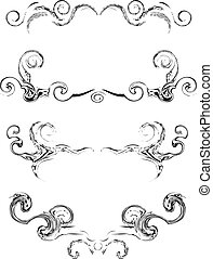 swirl, vektor, samling, elementer