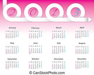 Swirling 2013 ribbon calendar design