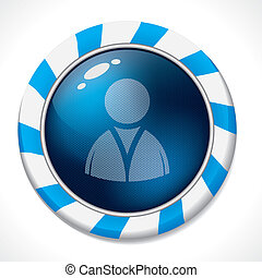Swirling button with social network icon