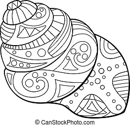 Swirling cone-shaped shell with a marine pattern - antistress coloring book - vector linear picture for coloring. Outline. Marine coloring - clam in a shell with patterns for coloring.