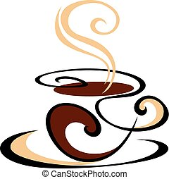 Dynamic swirling cup of delicious hot steaming coffee in shades of brown, vector doodle sketch