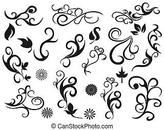 swirling decorative floral design elements