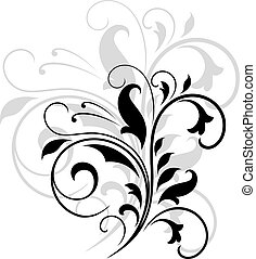 Elegant black and white swirling floral pattern with flourishes and an enlarged grey repeat behind