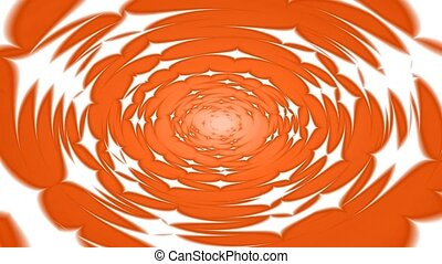 Swirling hypnotic circle animation - Orange hypnotic spiral...