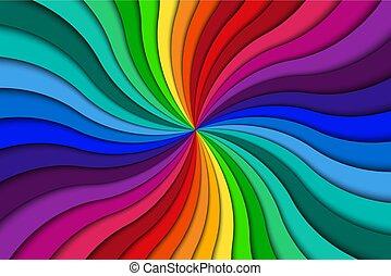 swirling, kleurrijke, kleur, abstract, spiraalvormig model, achtergrond, helder, vector, illustratie, radiaal