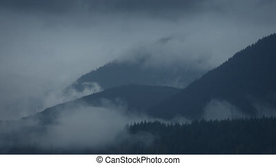 Swirling Mist Over Forest Mountains Timelapse - Timelapse...