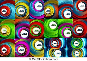 Swirling spiral background set, colorful stripes