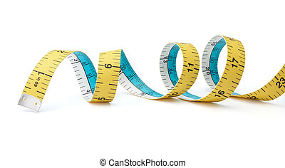 tape measure - swirling tape measure isolated on white ...