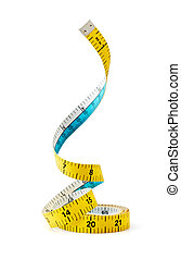 tape measure - swirling tape measure isolated on white...