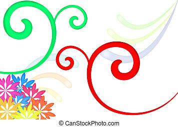 Swirls And Flowers - Swirls and flowers in different colors...