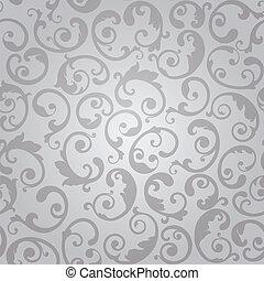 swirls, behang, seamless, zilver